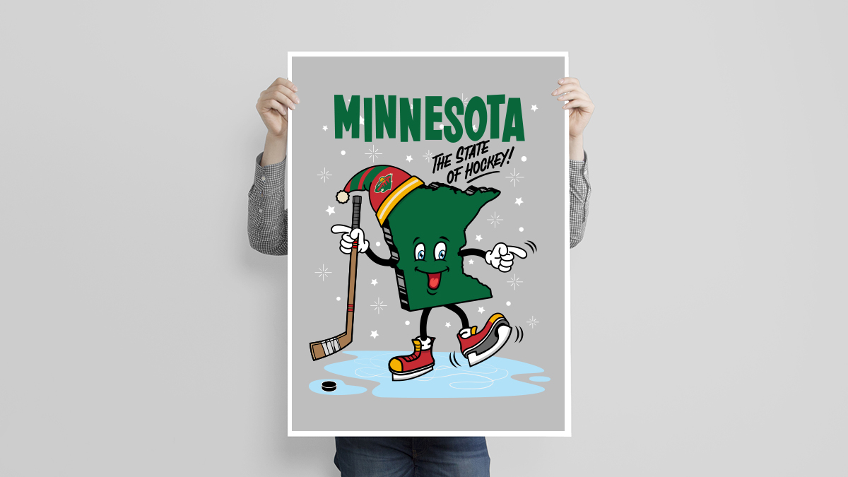 Illustration, Poster, Print, Minnesota: The State of Hockey. By Matthew Wolff Design