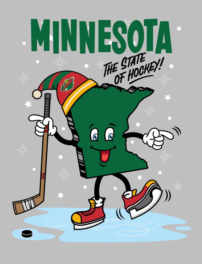 Illustration, Poster, Print, Minnesota the State of Hockey. By Matthew Wolff