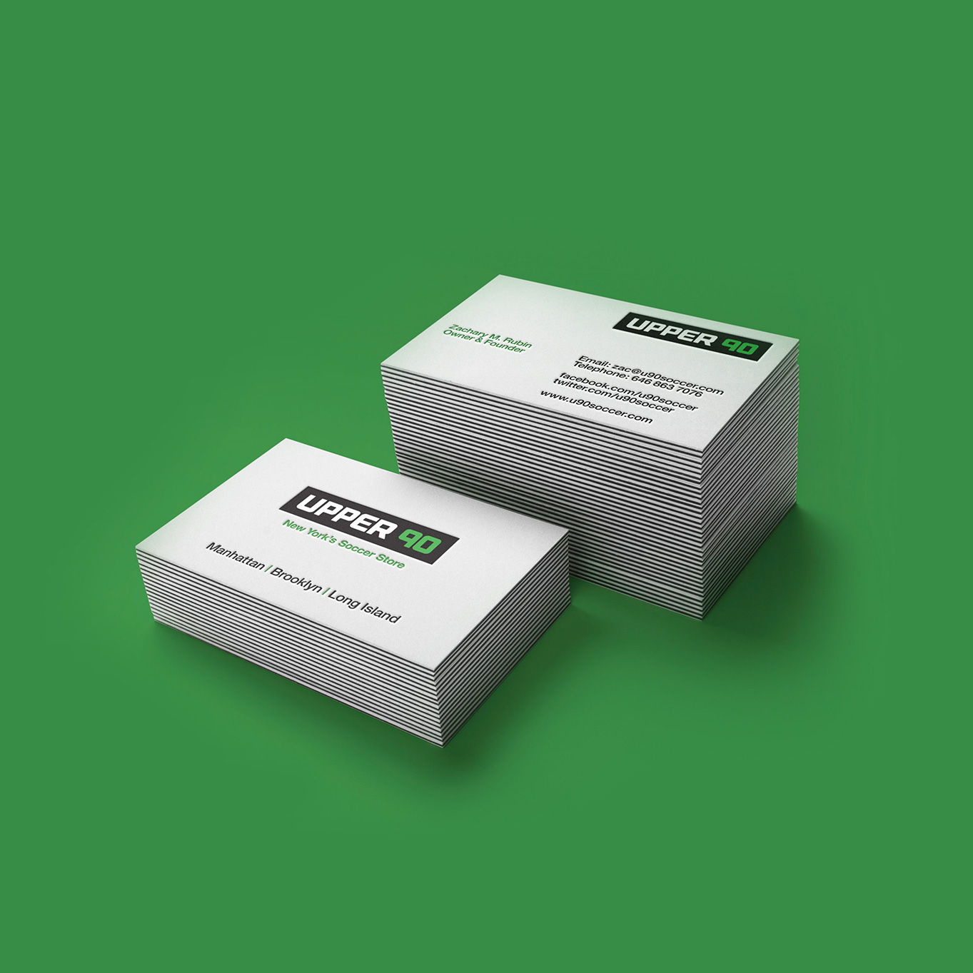 Upper 90 Soccer Business Card Design