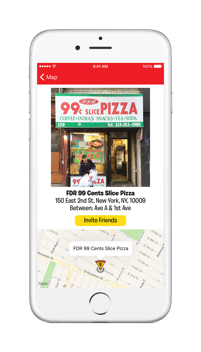 Dollar Slice NYC, Pizza, Map, App, New York City, iTunes, Google Maps, Matthew Wolff, Design, $1, 99 cent pizza