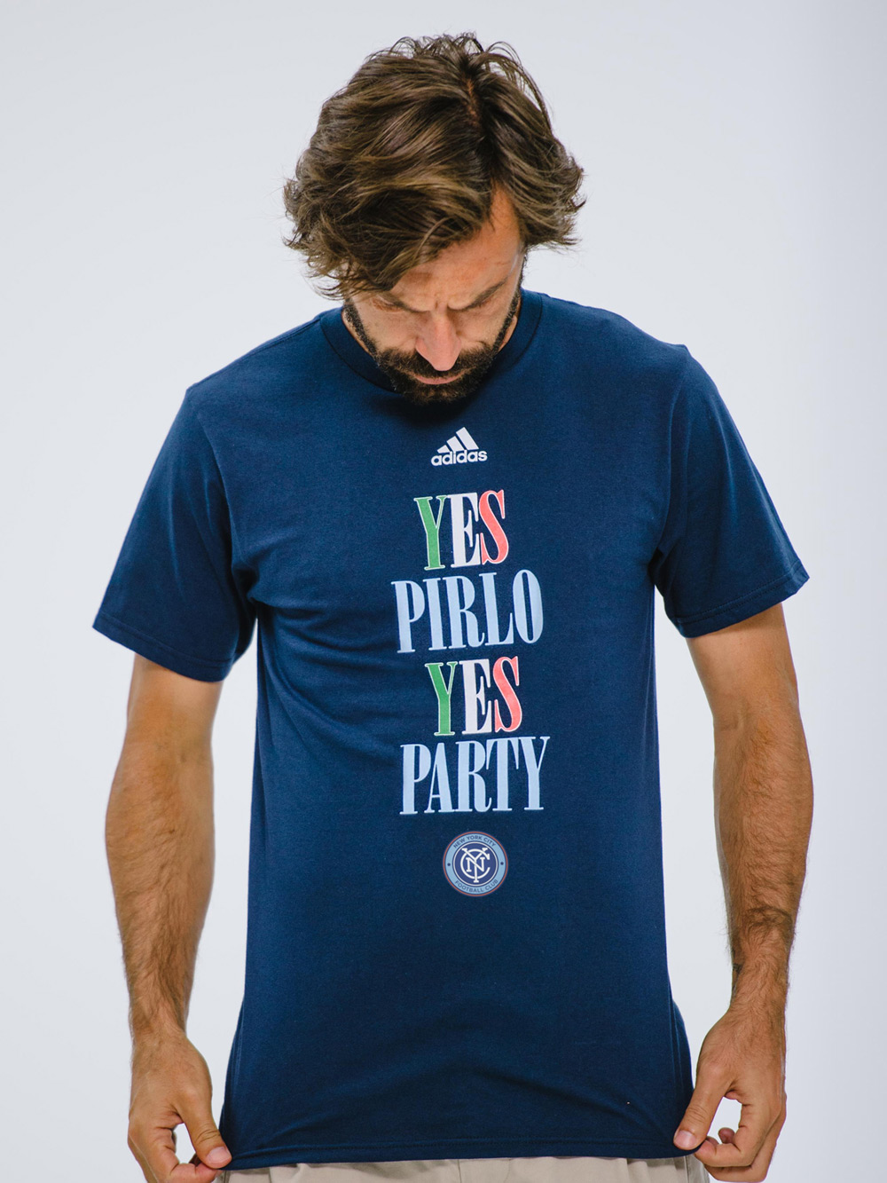 Yes Pirlo Yes Party, Tshirt, Soccer, Football, Design, Graphic Designer, Crest, Badge, Logo, Artist, Matthew Wolff Design, New York City FC, NYCFC, NYFC, NYC FC, David Villa, Frank Lampard, Andrea Pirlo, No Pirlo No Party, Yes Pirlo Yes Party, Poku, Yankee Stadium, Mix Diskerud, MLS, NY, Adidas, Third Rail, Streetwear, Apparel, Tshirt, Snapback, Hat, Cap, Branding, Kit, Identity, 2015, Inaugural Season Logo