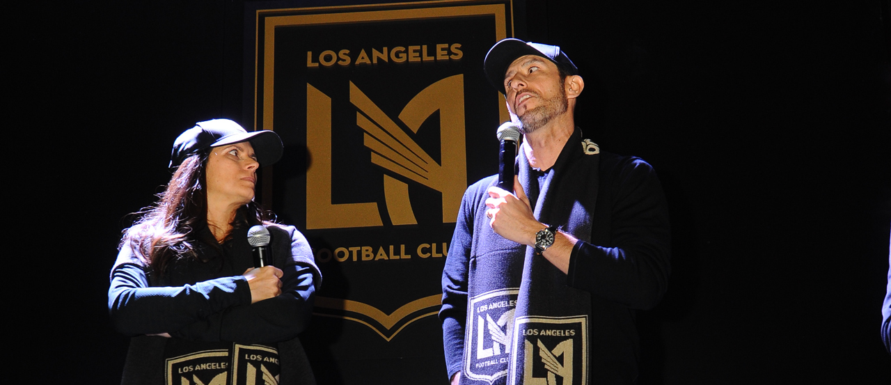 Mia Hamm and Nomar Garciaparra, LAFC, Crest, Badge, January 7