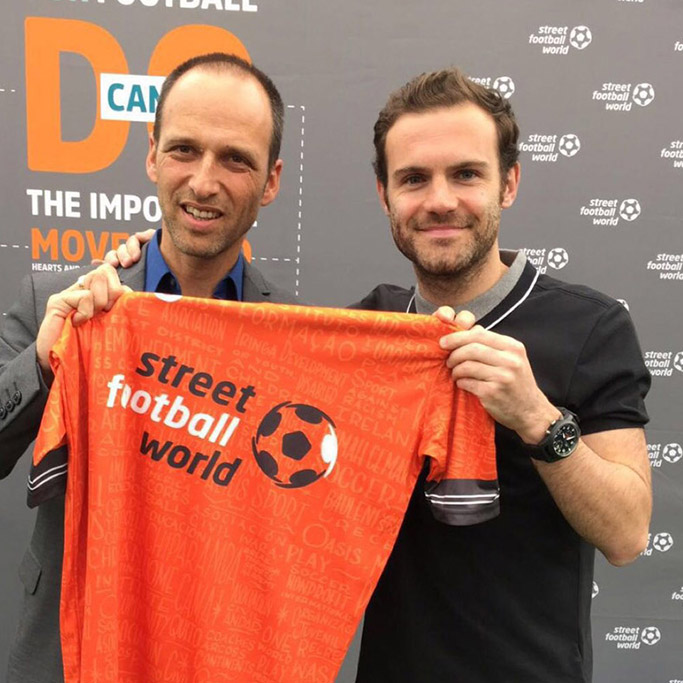 Juan Mata with Street Football World kit by Matthew Wolff and Frank Brittain