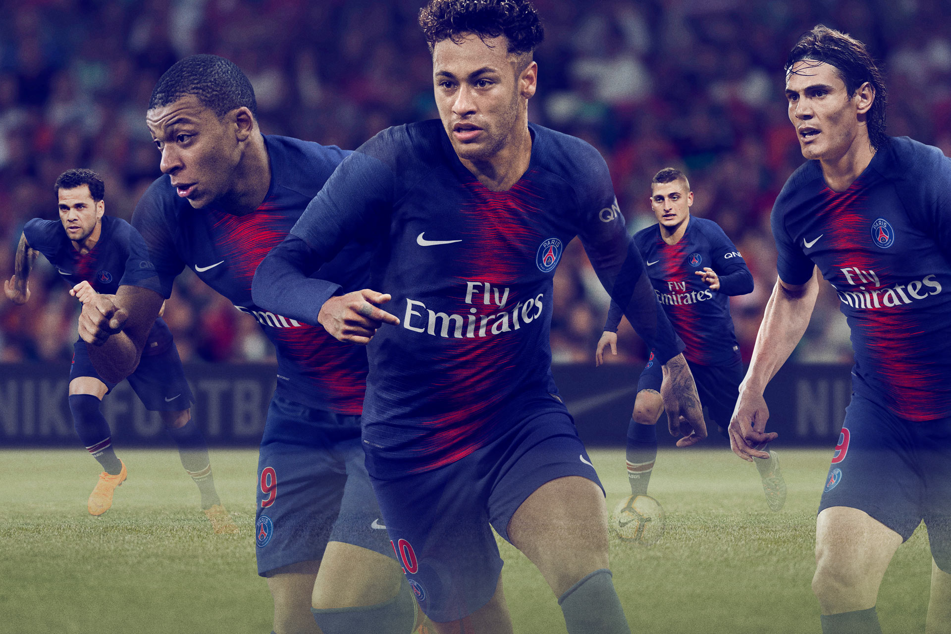 Neymar, Mbappe, Cavani, Veratti, Paris Saint-Germain (PSG) Home Kit 2018 Nike, Matthew Wolff